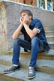 Pensive Teenager outdoor Stock Images