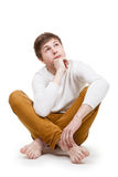 Pensive Teenager On White Royalty Free Stock Photography
