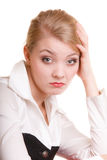 Pensive thoughtful woman. Overworked businesswoman. Royalty Free Stock Images
