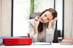 Pensive woman with big notepad Stock Photos