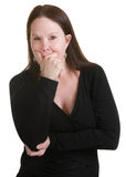 Pensive Woman in Black Royalty Free Stock Photo