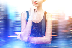 Pensive woman in a black tank top, blurred Royalty Free Stock Photography
