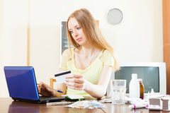 Pensive woman buying medication online Royalty Free Stock Photos