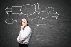 Pensive woman and flow chart on blackboard Royalty Free Stock Photos