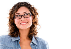 Pensive woman with glasses Stock Images