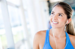Pensive woman at the gym Stock Photography
