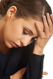 Pensive woman having a trouble Royalty Free Stock Images
