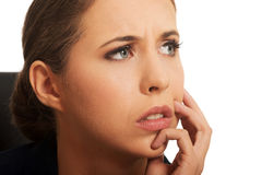 Pensive woman having a trouble Royalty Free Stock Photo