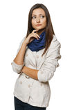 Pensive woman looking to the side Royalty Free Stock Photos