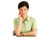 Pensive woman over white Stock Photography