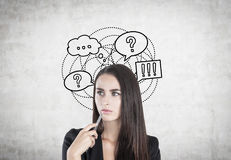 Pensive woman with a pen, thought bubbles. Portrait of a pensive businesswoman with a pen standing near a concrete wall with thought bubbles and speech clouds Royalty Free Stock Photography