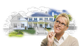 Pensive Woman with Pencil Over House Drawing and Photo on White Royalty Free Stock Photos