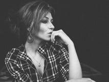 Pensive woman portrait Stock Photo