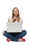 Pensive woman sitting with laptop Stock Image