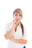 Pensive woman smiling Royalty Free Stock Image