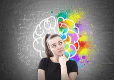 Pensive woman in T shirt, brain stock image