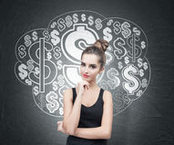 Pensive woman in tank top and dollar sign cloud Royalty Free Stock Photo