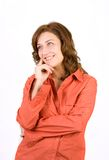 Pensive woman on white Stock Image