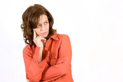 Pensive woman on white Royalty Free Stock Images