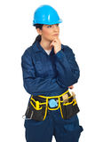 Pensive worker woman Stock Photos
