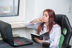 Pensive working woman, small business