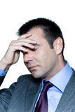 A pensive worried businessman eyes closed Stock Images