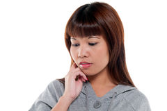 Pensive and worried woman Royalty Free Stock Photography