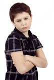 Pensive young boy isolated on white background Royalty Free Stock Images