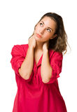 Pensive young brunette beauty. Stock Photography