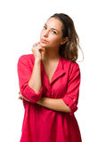 Pensive young brunette woman. Stock Image