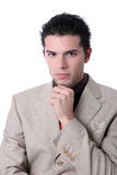 Pensive young business man portrait. Isolated on white Stock Photo