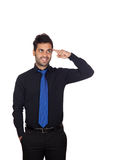 Pensive Young Businessman With Blue Tie Royalty Free Stock Images