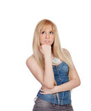 Pensive young girl with blond hair Stock Photos