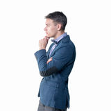 Pensive young handsome man in classical costume Royalty Free Stock Images