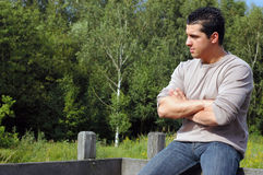 Pensive Young man. Royalty Free Stock Photography