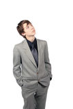 Pensive young man. Pensive young man isolated on white Royalty Free Stock Photos