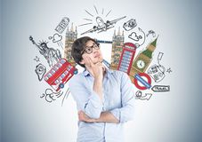 Pensive young man in glasses, travelling Royalty Free Stock Photos