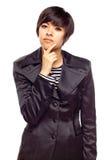 Pensive Young Mixed Race Woman Stock Photos