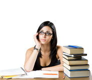 Pensive young student girl. Royalty Free Stock Photos