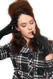 Pensive young woman with closed eyes Stock Image