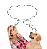 Pensive young woman with her dog looking up Royalty Free Stock Photos