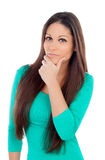 Pensive young woman with long hair Royalty Free Stock Photos
