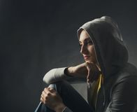 Pensive young woman Stock Photos