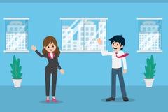 Pensyjny mężczyzna 01 Wita kolegów w biurze royalty ilustracja
