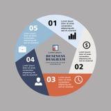Pentágono infographic del negocio en diseño plano Disposición para sus opciones o pasos Modelo abstracto para el fondo Fotos de archivo libres de regalías