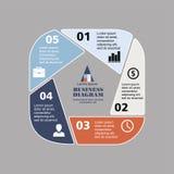 Pentágono infographic del negocio en diseño plano Disposición para sus opciones o pasos Modelo abstracto para el fondo Foto de archivo libre de regalías