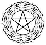 Pentacle na decoração preta isolada Imagem de Stock Royalty Free