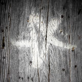Pentacolo bianco su legno Immagine Stock