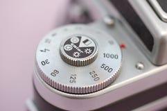 Pentacon Six camera shutter. Vintage analogue SLR medium format camera royalty free stock photo