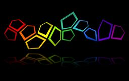Pentagon background 2. Black background with colorful pentagons floating Stock Photos